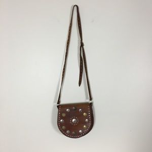 Vintage Brown Leather Coin Crossbody Purse